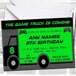 Games Truck Gaming Childrenand039s Birthday Party Invitations