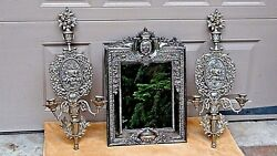 Set Of 3 Antique Unique Armorial Silverplated Large Mirror And2 Cherub Candelabres