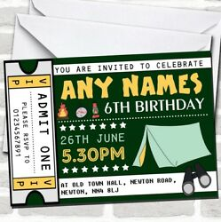 Green Camping Ticket Childrenand039s Birthday Party Invitations