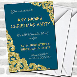 Deep Teal With Gold Border Christmas Party Invitations
