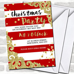 Glitter Border Red Stripes Christmas Party Invitations