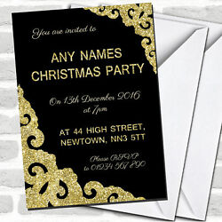 Black With Gold Border Christmas Party Invitations