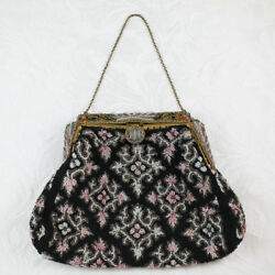 Vintage Beaded Black Pink White and Gray Purse with Cloisonné Enameled Frame