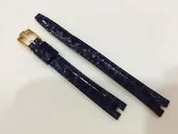 Blue Leather Watch Strap 10mm X 8mm Authentic Strap Mint Condition .