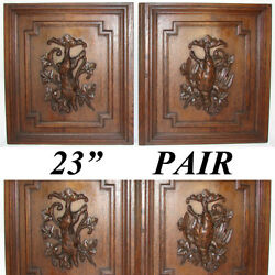 Pair Antique Victorian 25 Carved Architectural Furniture Doors, Panels Hunt