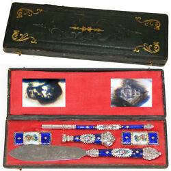 Antique French Silver And Kiln-fired Enamel Pen Set, Writer's Gift Set, Wax Seal +