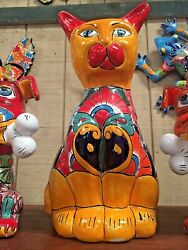 Talavera Mexican Pottery - Animals - Large Cat Free Freight