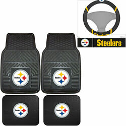 Nfl Pittsburgh Steelers Car Truck Rubber Floor Mats And Steering Wheel Cover Set
