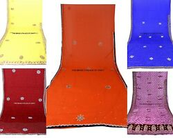 5 PCs Lot Assorted Indian Embroidered Hand Lace Work Sari Chinon Polyster Fabric