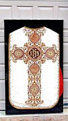 Antique 19c Ecclesiastical Chasuble Vestment Worn A Priest Of The Roman Chirch
