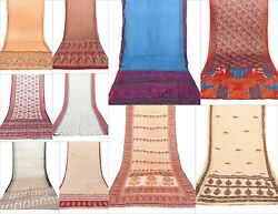 10 PCs Lot Indian Silk Saree Assorted Pattern Soft Texture Use It throw Dressing