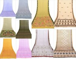 Indian Silk Saree Soft Texture 10 PCs Lot Assorted Use In throw Fas