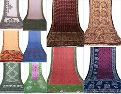 Indian Silk Saree Soft Texture Decor Table Linen Beachwear Assorted 10 PCs Lot