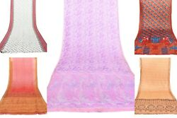 5 PCs Lot Indian Silk Saree Assorted Soft Texture Fashionable DressingBeachwear