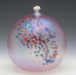 Art Glass Oil Pink Iridescent Lamp Unsigned Possibly Glass Ey Studios 6t