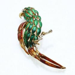 Vintage 18k yellow gold Diamond Enamel Parrot Bird Brooch Pin 14 carat Estate