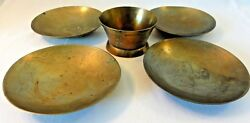 Antique/vintage Set Of Hand Etched Chinese Brass Saucers And Cup - Dragon Motif