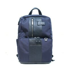 Man woman backpack PIQUADRO BRIEF blue leather and fabric New CA3214BR BLU EUPG