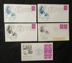 1958 Abraham Lincoln First Day 4c Stamp Vg/vg+ Lot Of 5