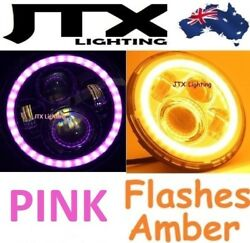 1pr Headlights Pink Flash Amber When Turning Fit Land Rover Defender 90 110 130
