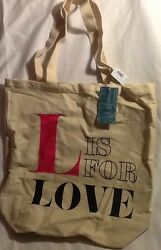 Old Navy LOVE Canvas Tote Bag Beach Reusable Shopping Grocery Eco Friendly