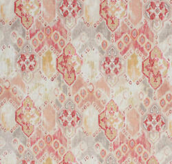 Cotton Linen Moroccan Ikat Fabric Neutral Beige Coral Red Upholstery Drapery