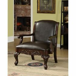 Antique Dark Brown Accent Club Chair Faux Leather And Wood Vintage Armchair Seat