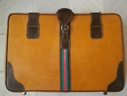 Genuine GUCCI 1940s 1950s Vintage Suitcase Large GG Web Wheelie Pull Bag Luggage