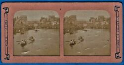 Tinted Tissue Stereoview Photo Joute Nautique Canal Paris France Stereo Ca 1875