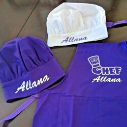 Personalized Kids Chef Apron and Chef Hat Cooking Set Color Matched Ages 2 13 $14.99