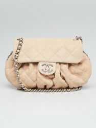 Chanel Beige Quilted Lambskin Leather Chain Around Medium Messenger Bag