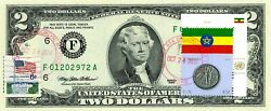 2 Dollars 1995 Flag Of Un From Ethiopia Lucky Money Value 150