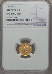 1855-c Gold Dollar 1 Indian Princess Type 2 Ngc Au Details - Rare Charlotte