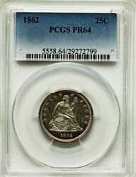 1862 Seated Liberty Quarter Proof 25c Pcgs Pr64, Only 550 Struck, Pg = 2,450