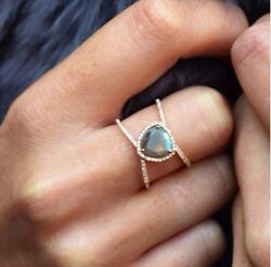 Luna Skye 14kt Gold Diamond And Petite Triangle Double Band Labradorite Ring