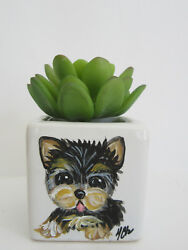 HAND PAINTED ART~~~LITTLE YORKIE Terrier MINI CACTUS WHITE POTTED PLANT~~Pretty