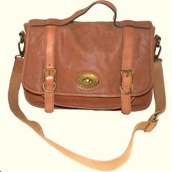 Fossil Distressed Leather Vintage Reissue Messenger Crossbody Satchel Bag ZB4617