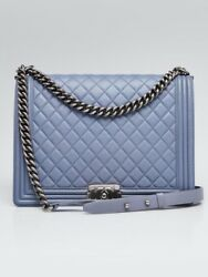 Chanel Blue Quilted Lambskin Leather Large Boy Bag