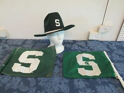 Vintage Michigan State Spartans Cowboy Hat And 2 Car Flags