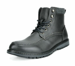 Bruno Marc Mens Faux Fur Motorcycle Riding Combat Leather Oxfords Ankle Boots $13.99