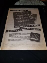 Talking Heads The Name Of This Band Rare Original Uk Promo Poster Ad Framed