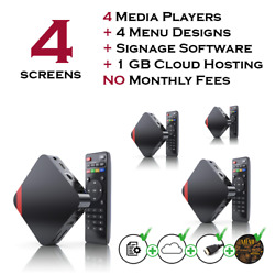 4 Screens Restaurant Digital Menu Package With Free Signage Software