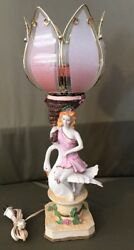 Beautiful Resin Girl Sitting On A Swan Holding A Torch Light Lotus Style Lamp