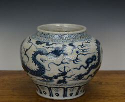 Old Large Chinese Ming Style Blue And White Dragon Porcelain Pot