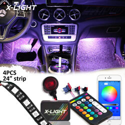 4pc Rgbw Led Interior Light Kit For All Cars Accent Neon Glow Strip Lights