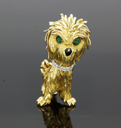 VINTAGE 18CT GOLD EMERALD & DIAMOND TERRIER BROOCH - 1970s