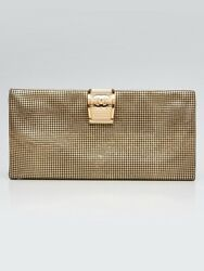 Chanel Gold Perforated Leather Foldover Pouch Clutch Bag