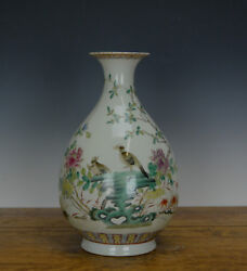 Superb Chinese Famille Rose Bird And Flower Pear Form Body Porcelain Vase