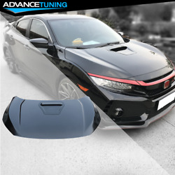 Fits 16-20 Honda Civic Coupe Sedan Hatchback Type-r Style Steel Front Hood Black