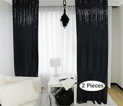 2PCS 2x7ft Black Sequin Backdrop Photography Backdrop Wedding Curtains Backdrop